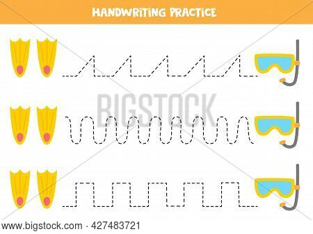 Tracing Lines For Kids With Cartoon Underwater Mask And Flippers. Summer Worksheet.