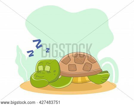 Character Of Cute Sleeping Turtle Isolated On The Background. Vector Illustration In Cartoon Style F