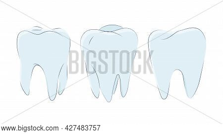 Set Of Molars In A Cute Cartoon Style. Vector Illustration Of Teeth Icons  Isolated On A White Backg