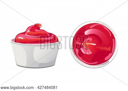 Tomato Ketchup In Bowl. Red Sause With Swirl In Ramekin. Dressing, Condiment In Flat Cartoon Style.