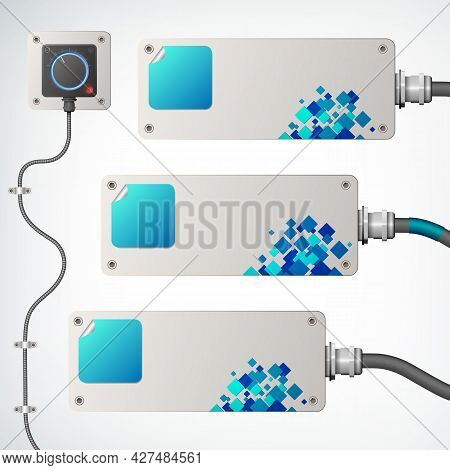 White And Blue Horizontal Industrial Banners Set With Socket And Wires Flat Isolated Vector Illustra