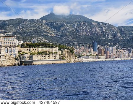 Monte - Carlo City And Port, Panoramic View From The Sea. Landmark Of Monaco, Port Hercules, Port Fo