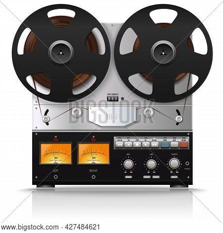 Old Bobbin Tape Recorder. Vintage Analog Reel Tape Recorder. Retro Technologies. Vector Illustration