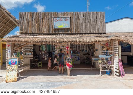 Handmade Souvenir Stand With Various Oroducts, Mahahual, Costa Maya, Mexico