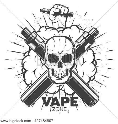 Vintage Vape Label With Skull Vaporizers Smokes Hand Holding Electronic Cigarette And Sunburst Isola