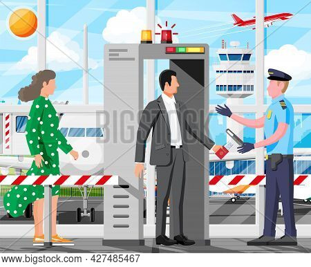 Metal Detector Gate In Airport Interior. Scanner Gate, Man And Police Officer. Frame Detecting Metal