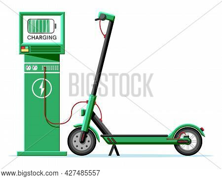 Electric Scooter And Charging Station Isolated. Green Modern Scooter Recharges Batteries. Charge Sta