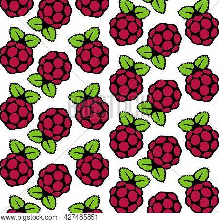 Raspberry Fruit Seamless Pattern Vector Illustration On A White Background