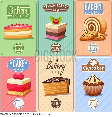 Traditional Bakery Confectionary 6 Vintage Mini Posters Composition Banner With Cupcakes Caked And C