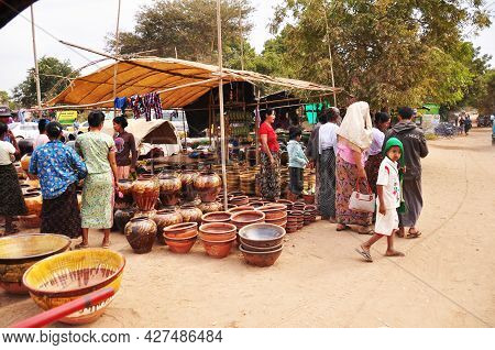 Burmese People And Foreign Travelers Walking Travel Visit And Buy Shopping Food Souvenir Gift Produc
