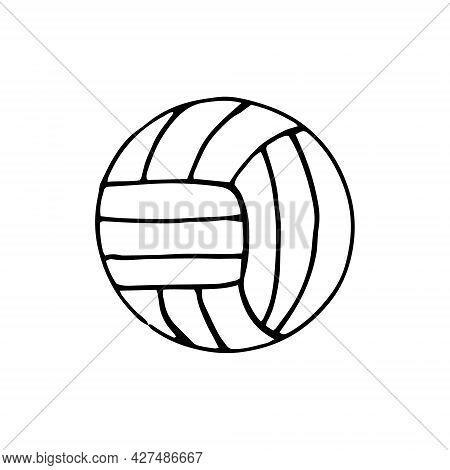 Volleyball Ball. Hand Drawn Doodle Icon. Vector, Scandinavian, Nordic, Minimalism, Monochrome Sports