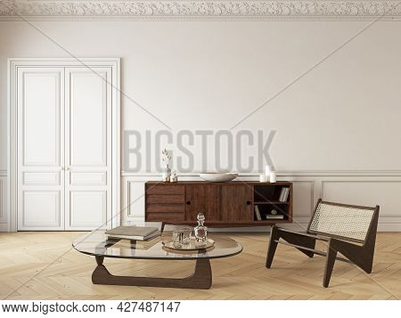 Classic Beige Interior With Dresser, Lounge Chair And Decor. 3d Render Illustration Mockup.