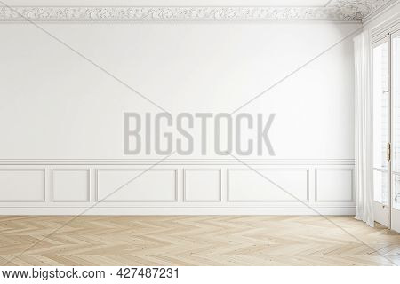 Classic White Empty Interior With Moldings. 3d Render Illustration Mockup.