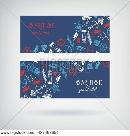 Vector Set Of Two Yacht Club Banners With The Name Of Club And Many Maritime Objects With Images Of