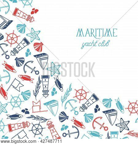 Vintage Maritime Light Template With Inscription And Hand Drawn Marine Elements On White Background