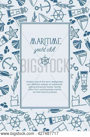 Hand Drawn Marine Template With Text In Rectangular Frame And Nautical Elements In Vintage Style Vec