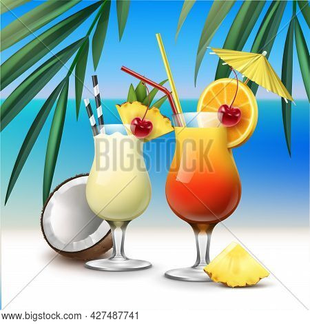Vector Tropical Cocktails Tequila Sunrise And Pina Colada On Azure Seaside With Palm Leaves Backgrou