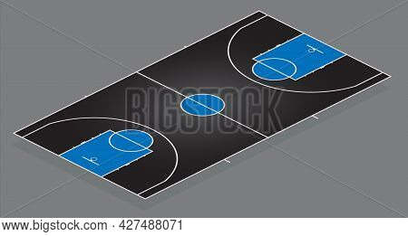 Basketball Court. Black Background With Blue Details. Multicolor Vector Illustration. Side View In I