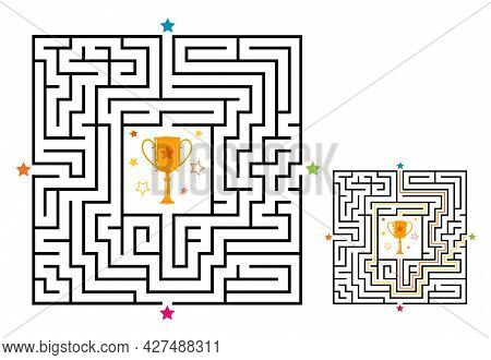 Square Maze Labyrinth Game For Kids. Labyrinth Logic Conundrum With Winner Cup. Four Entrance And On