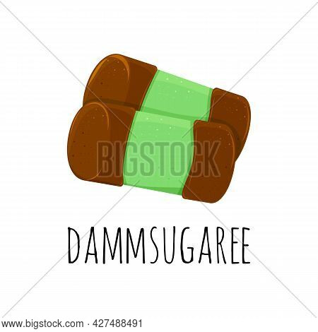 Color Illustrations With Green Punschrulle Dammsugare. Traditional Swedish Sweet. Isolated Objects O