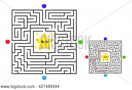 Square Maze Labyrinth Game For Kids. Labyrinth Logic Conundrum With Star. Four Entrance And One Righ