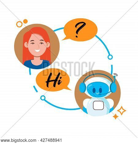 Chatbot Concept. Woman Chatting With Cute Robot Chat Bot. Vector Flat Cartoon Character Illustration