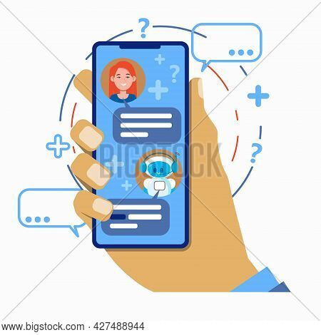Chatbot Concept. User Chatting With Robot Chat Bot Mobile Application On Smartphone. Hand Holds A Sm