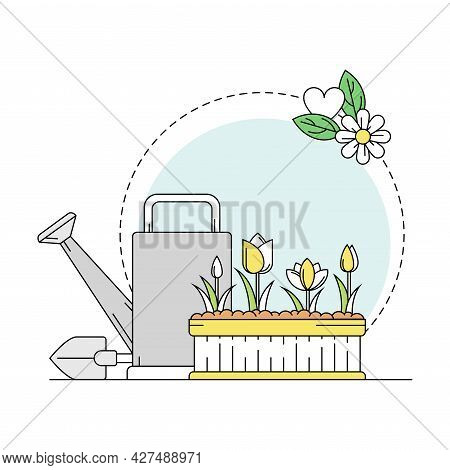 Gardening And Horticulture As Plant Cultivation With Watering Can And Garden Bed Line Round Vector C