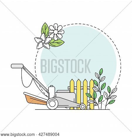 Gardening And Horticulture As Plant Cultivation With Mower And Fence Line Round Vector Composition