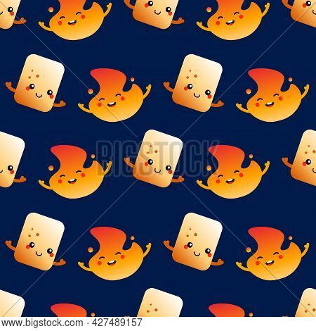 Toasted Marshmallow And Burning Fire, Flame Cute Smiling Cartoon Characters Vector Seamless Pattern