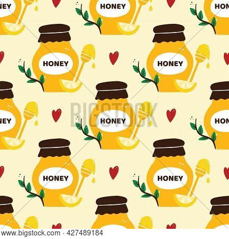 Cute Cartoon Style Honey Jars With Dippers, Green Branches, Lemon Slices And Hearts Vector Seamless