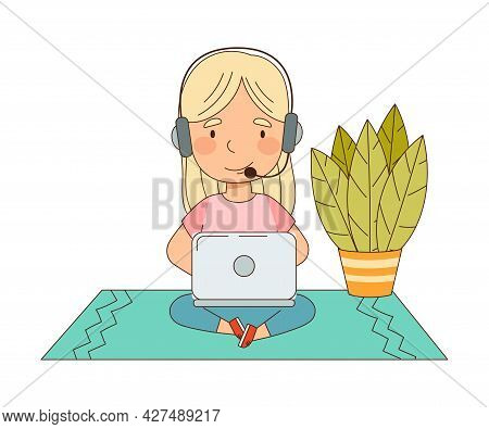 Home Study And Distance Learning With Blond Girl With Headphones In Front Of Tablet Pc Training And