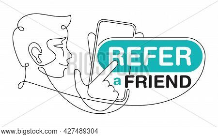 Refer A Friend - Referral Program Creative Flyer - Thin Line Simplified Person Holding Phone And Sho