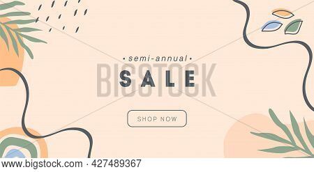 Boho Abstract Horizontal Banner Template. Trendy Minimal Background With Tropical Palm Leaves, Rainb