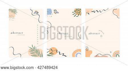 Set Of Trendy Abstract Floral Vertical Templates With Tropical Palm Leaves, Rainbow And Abstract Sha