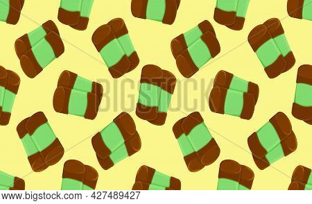 Seamless Pattern From Traditional Swedish Sweets Dammsugare. Vector Cartoon Background
