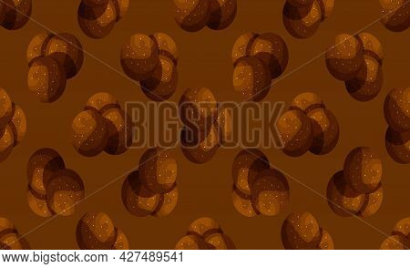 Seamless Pattern From Traditional Swedish Sweets Chokladboll. Vector Cartoon Background