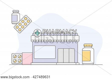 Medicine With Pharmacy Or Drugstore Building With Pills In Blister Pack Line Vector Illustration