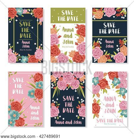 Wedding Invitation Banners With Roses Bouquet Ornament Save The Date Text And Names Of Bride And Gro