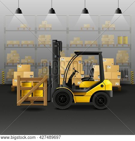 Warehouse Realistic Composition With Forklift Storage And Cargo Boxes Vector Illustration