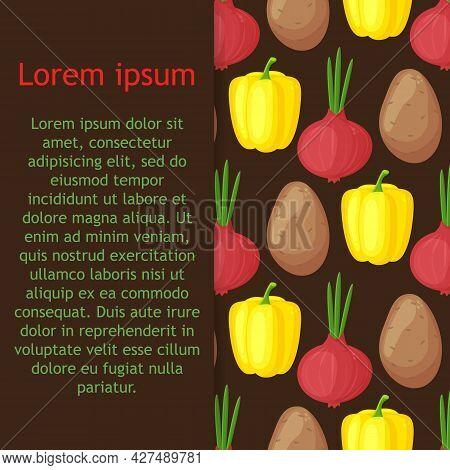 Seamless Pattern With Hand Drawn Colorful Vegetables. Sketch Style Vector Set. Vegetables Flat Icons