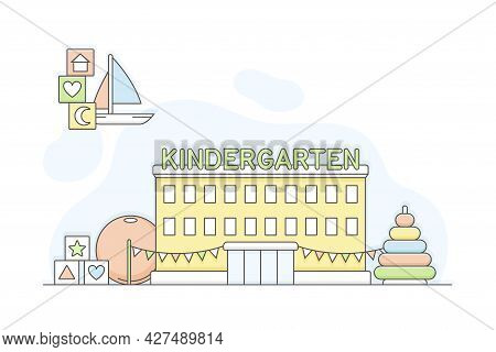 Municipal Or City Services For Citizen With Kindergarten Department Vector Illustration