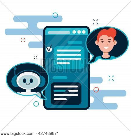 Chatbot Concept. Users Chatting With Cute Robot Chat Bot On Smartphone. Flat Cartoon Vector Illustra