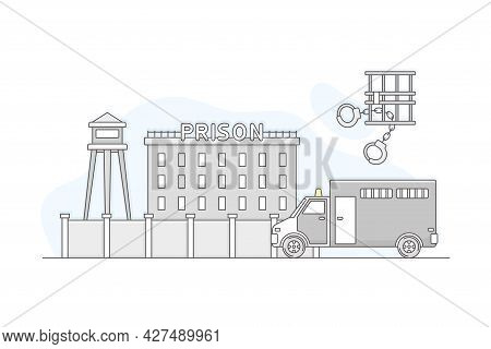 Municipal Or City Services For Citizen With Prison Department Vector Illustration