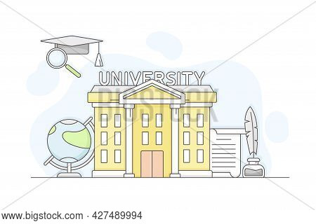 Municipal Or City Services For Citizen With University Department Vector Illustration