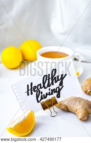 Healthy Living - Written On Piece Of Paper Among The Products For The Treatment Of Common Cold - Lem