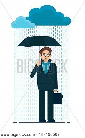 Young Man With An Umbrella In The Rain. Bad Rainy Weather. Flat Cartoon Illustration Isolated On Whi
