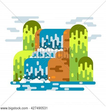 Waterfall Landscape. Mountain River With Cascade. Vector Flat Cartoon Illustration Illustration Isol