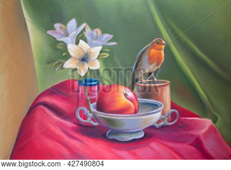 Still life with flowers, peach and an european robin. Original oil pastel on paper.