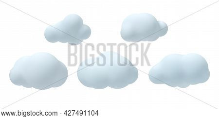 Set Of 3d Vector Clouds. Decorative Elements Isolated On White Background. Vector Illustration.
